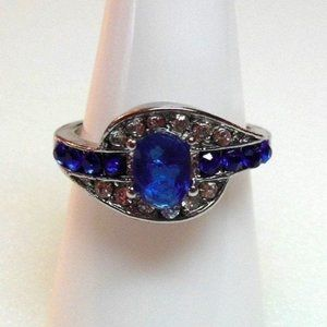 Ring Size 9 Simulated Diamond Oval Sapphire 180